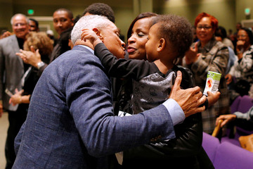 U.S. Senate candidate Mike Espy speaks during a voting rally at New Horizon Church in Jackson