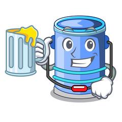 With juice cylinder bucket with handle on cartoon