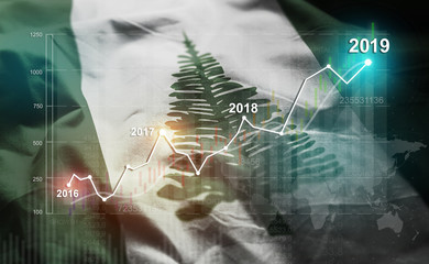Growing Statistic Financial 2019 Against Norfolk Island Flag