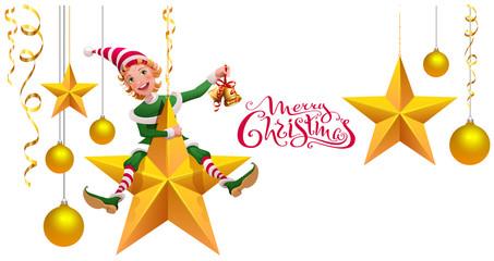 Merry Christmas text greeting card. Green elf leprechaun on star holding Christmas bell