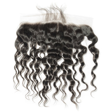 Loose deep curly black human hair weaves extensions lace closure frontal