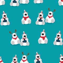 Seamless pattern, vector illustration of cute bear cartoon character sitting, wearing red scarf and hat on green background.