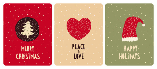 Set of 3 Cute Christmas Vector Card. Christmas Tree with Green Stars, Red Heart and Santa Hat. Hand Written Merry Christmas, Peace and Love, Happy Holidays. Red, Beige and Green Backgrounds.