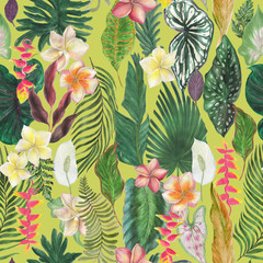 watercolor painting seamless pattern with tropical leaves and flowers