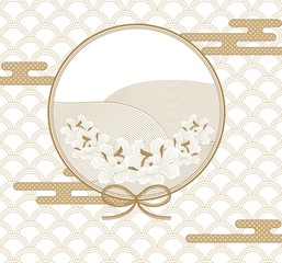 Line frame with circle template vector. Gold Japanese pattern with flower background.