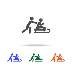 silhouette of man riding a sleigh icon. Elements of Christmas holidays in multi colored icons. Premium quality graphic design icon. Simple icon for websites, web design, mobile app