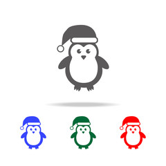 Cute Penguins wearing Santa Claus hat icon. Elements of Christmas holidays in multi colored icons. Premium quality graphic design icon. Simple icon for websites, web design