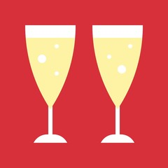 champagne glasses, Christmas party theme flat icon