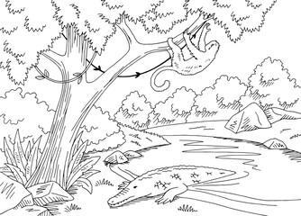 Jungle river graphic black white landscape sketch illustration vector