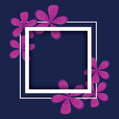 frame with flowers decorative