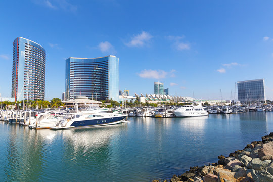 City view with Marina Bay in San Diego, California USA. Can Diego hotels and convention center at bay.