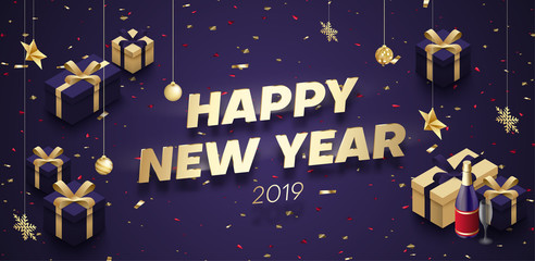 Purple Happy New Year 2019 poster with golden 3d gifts and Christmas decorations.