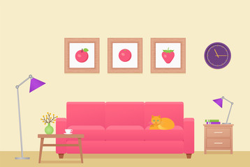 Room interior. Vector. Living room. Lounge with furniture. Home background in flat design. Cartoon house equipment in modern apartment. Colorful animated illustration parlor with pink sofa and table.