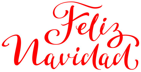 Feliz navidad text translation from spanish. Merry Christmas lettering greeting card