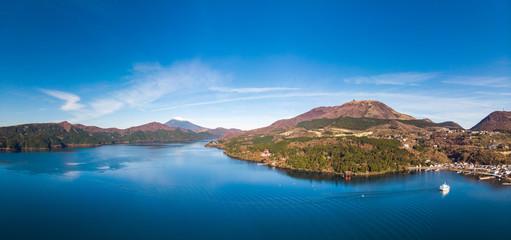 Mount Fuji and Lake Ashi.The shooting location is Lake Ashi, Kanagawa Prefecture Japan.View from drone.-aerial photo.