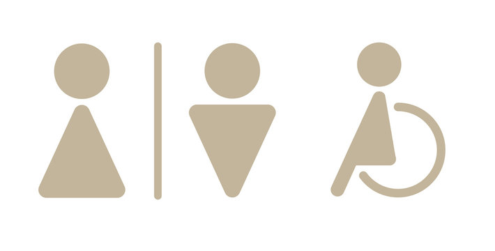 modern toilet signage has man, woman, baby, old people and disabled on white background