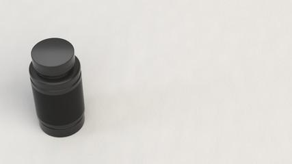 Blank black plastic bottle for pills