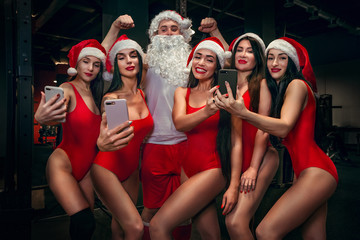 Holidays and celebrations, New year, Christmas, sports, bodybuilding, healthy lifestyle