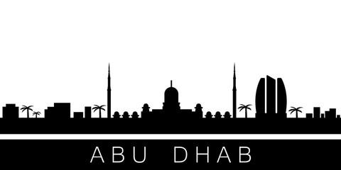 Abu Dhabi detailed skyline. Vector postcard illustration
