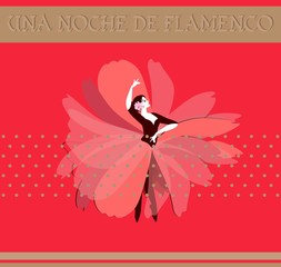 "Dancer girl dressed in long red skirt in shape of flower stands in dance pose isolated on red background. The Spanish text ""Night of Flamenco"". Invitation card or banner in vector. Vintage style."