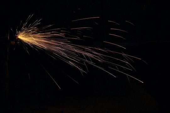 Light from welding steel.