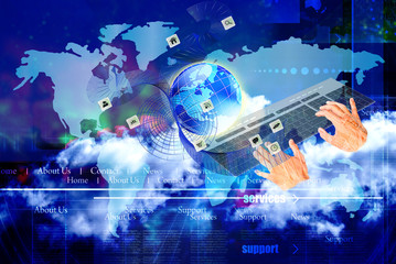 Wall Mural - global networking internet technologies