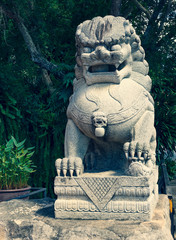 Guardian Lion Foo Fu guard stone statue (cross process)