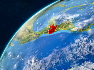 Guatemala on realistic model of planet Earth with country borders and very detailed planet surface and clouds.