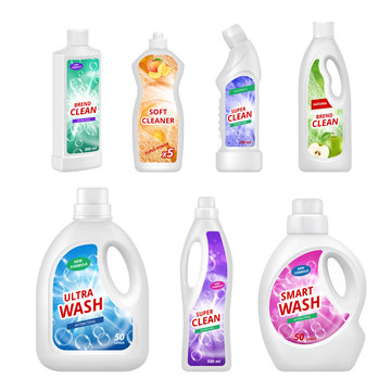 Labels for chemical bottles. Realistic illustrations of plastic bottles for various chemical liquids. Disinfectant and sanitary, chemical bottle product