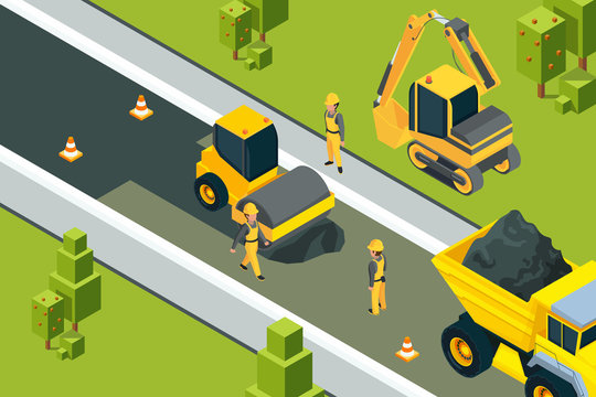 Asphalt street roller. Urban paved road laying safety ground workers builders yellow machines isometric vector landscape. Illustration of road construction asphalt, equipment transportation