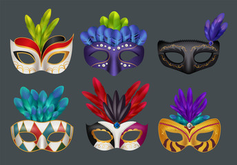 Masquerade masks realistic. Masked fashion party carnival vector realistic illustrations isolated. Colored masquerade mask for carnival, face decoration