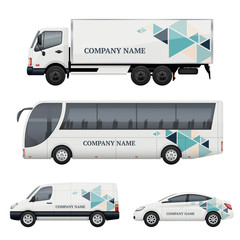 Vehicle branding. Transportation advertizing bus truck van car realistic vector mockup. Illustration of bus and van truck, vehicle car transport
