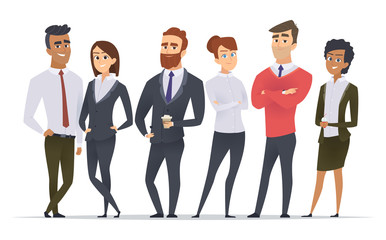 Fototapeta Business team. Professional workers happy partners group team building office male and female managers standing vector characters. Illustration of worker group, business manager team obraz