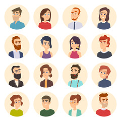 Business avatars. Colored web pictures of male and females office managers vector portraits in cartoon style. Illustration of human face avatar portrait, person business manager cartoon