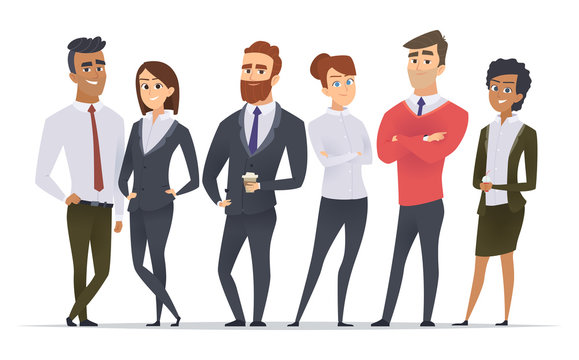Business team. Professional workers happy partners group team building office male and female managers standing vector characters. Illustration of worker group, business manager team