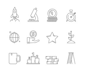 Startup business icon. Creative exploring marketing development strategy and new ideas vector outline web symbols. Startup development icons, business start, finance investment illustration