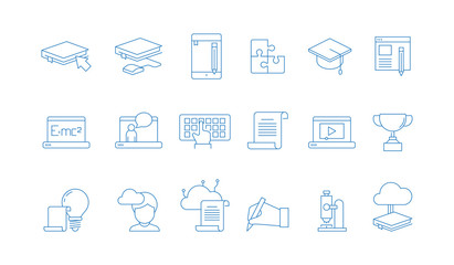 Online education icons. Training study courses college special school with web computer distance tutorials vector linear symbols. Distance training education, icon linear learn illustration