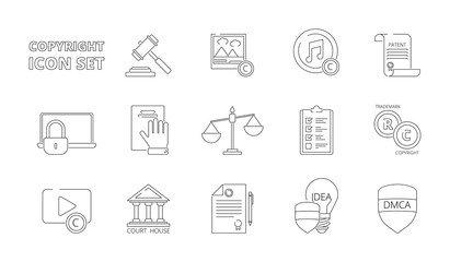 Intellectual property icons. Copyright legal policy regulations independence individuality rights patent ownership vector line icons. Intellectual copyright protection rights illustration