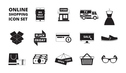 Online store icon. Web shopping online pay cards money and discount cards retail markete-commerce products vector black symbols. Illustration of store and retail, e-commerce monochrome silhouette