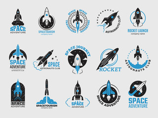 Rocket logo. Space satelite retro shuttle moon discovery logotypes of observatory vector black badges isolated. Shuttle and satellite, spaceship and rocket adventure illustration