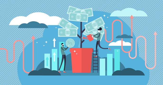 Investing vector illustration. Deposit profit and wealth growing business.