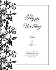 Wedding ornament concept with floral hand draw vector art