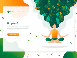 Go green!  Web banner design template. Girl floating in the air in a lotus position. Leaves are woven into her hair. The concept of ecology. Flat vector illustration.