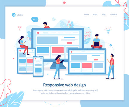Development of web design for different devices. Landing page template. Responsive design. Flat vector illustration.