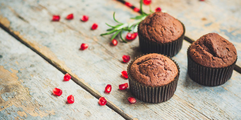 muffins chocolate (cupcakes) chocolate dessert cake. top view.