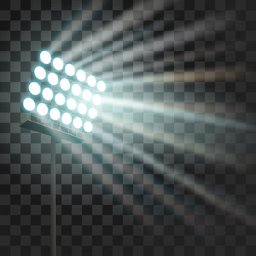 Stadium glowing light. Stadium projector lights to illumnate evening or night sport games, concerts, shows. Arena spotlights