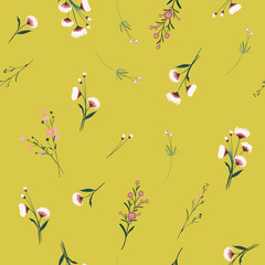 Summmer Trendy  colorful blowing  Floral pattern in the many kind of flowers. Wild botanical  Motifs scattered random. Seamless vector texture. For fashion prints.