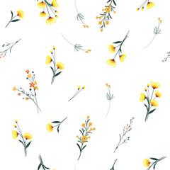 Trendy yellow wind blowing  Floral pattern in the many kind of flowers. Wild botanical  Motifs scattered Seamless vector texture. For fashion prints.