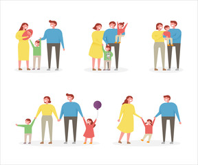 A family set of various members. flat design style vector graphic illustration.