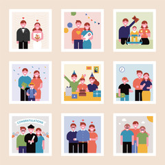 Family history of photo album concept. flat design style vector graphic illustration.